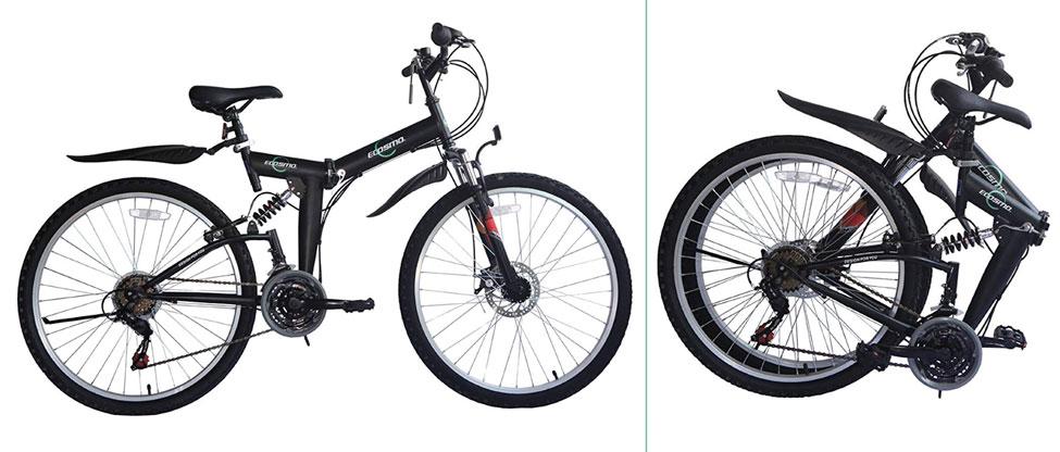 ECOSMO 26SF02BL - Bicicleta plegable con suspensión