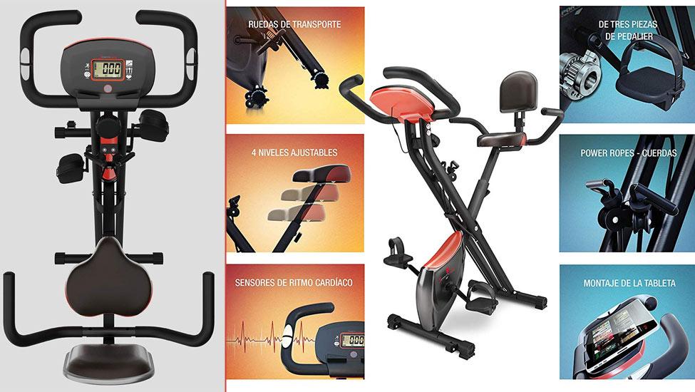 Sportstech Bicicleta estática Plegable con Respaldo X100-B